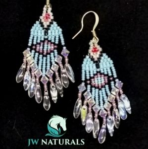 Handmade Swarovski Turquoise Pink Beaded Earrings